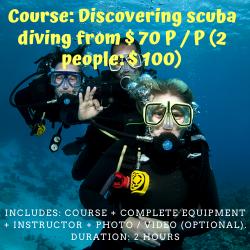 Curso: Descubriendo el Buceo desde $70 P/P (2 personas: $100-VALIDO HASTA EL AÑO 2019). Incluye: Curso + Equipo completo + Instructor + Foto/video (opcional). Duración: 2 hs. (Course: Discover Scuba Diving from $ 70 P / P (2 people: $ 100-VALID ONLY FOR THE YEAR 2019). Includes: Course + Complete equipment + Instructor + Photo / video (optional). Duration: 2 hours)