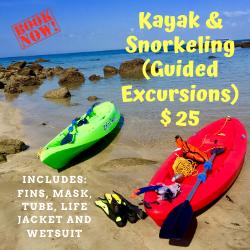 Kayak & Snorkeling (Excursiones Guiadas): $ 25 P/P (Snorkeling, Playa Hobo, Corales, Cascada, Cavernas, Isla Uraba). Incluye: Aletas, mascara, tubo, chaleco salvavidas y wetsuit (Kayak & Snorkeling (Guided Excursions): $ 25 P / P (Snorkeling, Hobo Beach, Corals, Waterfall, Caverns, Uraba Island). Includes: Fins, mask, tube, life jacket and wetsuit)