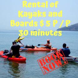 Alquiler de Kayaks y Tablas $ 5 P/P 30 minutos. (Rental of Kayaks and Boards $ 5 P / P 30 minutes.)