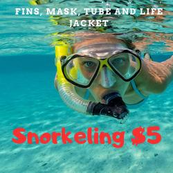 Snorkeling $5 P/P Alquiler de equipo por 2hs: Aletas, mascara, tubo y chaleco salvavidas (Equipment rental for 2 hours: Fins, mask, tube and life jacket)
